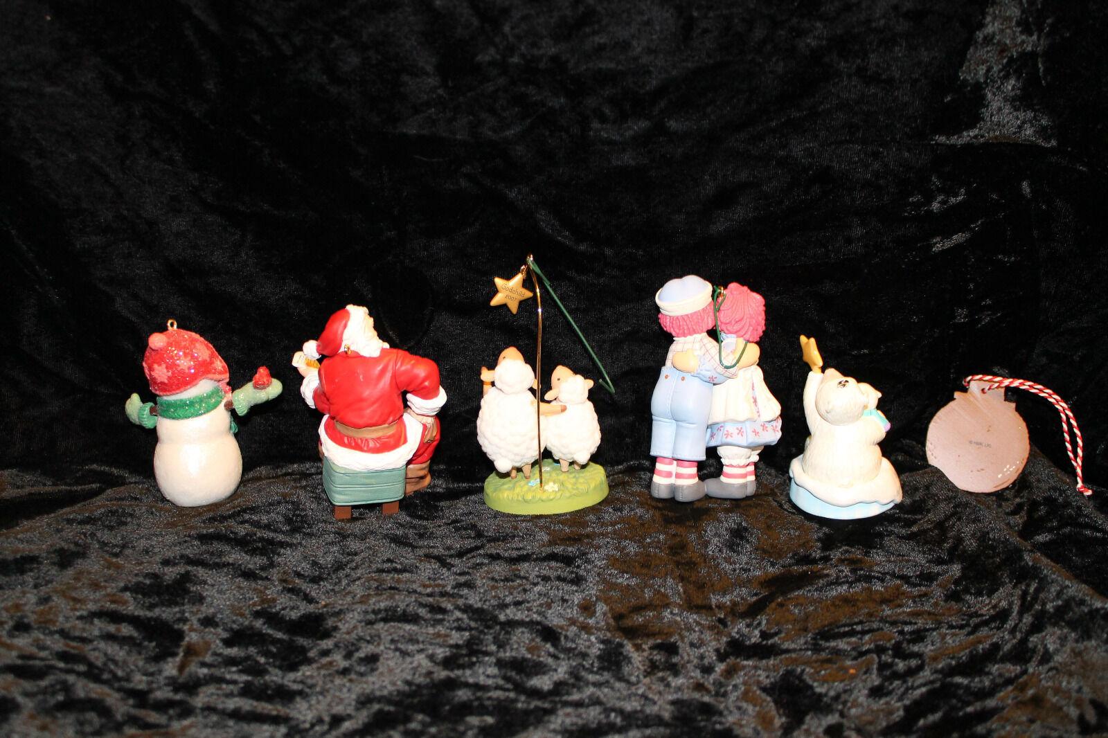 Hallmark Christmas Tree Ornament Santa snowman Raggedy Ann Andy lot of 6