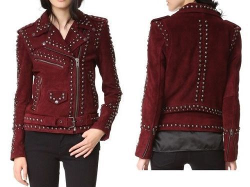 QASTAN Women's New Fashioned Red Maroon Suede Leather Jacket Silver Studs WWJ129