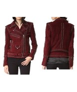 QASTAN Women's New Fashioned Red Maroon Suede Leather Jacket Silver Stud... - $175.52+