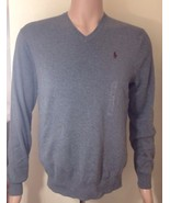 Ralph Lauren Herren Grau Pima Baumwolle V-Ausschnitt Pullover Größe - $82.97