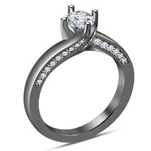 14k Black Gold Finish 925 Silver Round Cut White Diamond Engagement Wedd... - $83.77