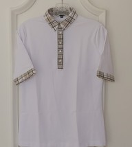 Stylish Women's Golf & Resort White Short Sleeve Collar Top, Swarovski B... - $29.95