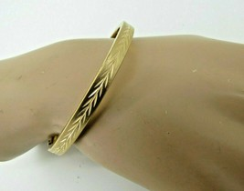 14k Yellow Gold Filled Bangle Bracelet Hinged Marathon Designer Etched B... - $59.39