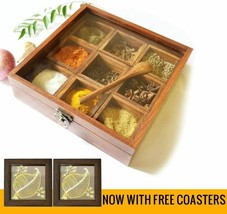 Spice Box - Sheesham Wood Spice Box Container - Spice Box Holder With 2 ... - $54.12