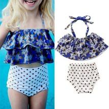 1-6Y Fashion Kids Baby Girl Summer Swimwear Sets Floral Sleeveleess Halter - $10.19