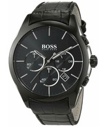 Hugo Boss 1513367 Chronograph Black Leather Strap Steel Men's Watch - £90.35 GBP
