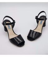 NIB Prada Black Patent Leather Round Heel Sandals 8.5 38.5 New - $325.00