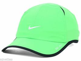 NEW! Cool Green/Black NIKE Men-Women's Tennis Cap DRI-FIT Run Hat Feathe... - $98.88