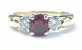 18Kt Oval Shape Gem Ruby Diamond Yellow Gold Three-Stone Ring 1.03CT - $1,237.50