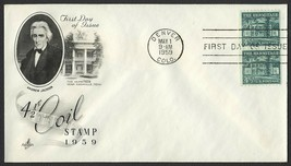 #1059 4 1/2c The Hermitage-Pair, Art Craft-Addressed FDC **ANY 4=FREE SH... - $1.50