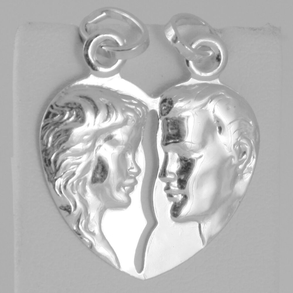 18K WHITE GOLD DOUBLE BROKEN HEART PENDANT CHARM MAN WOMAN 29 mm MADE IN ITALY