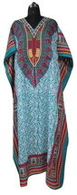 Long Digital Printed Kaftan, Paisley Floral Kimono Caftan Dress, Free Size - $12.17