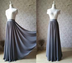 Women High Waisted Maxi Chiffon Skirt Summer Wedding Chiffon Skirts Many Colors image 14