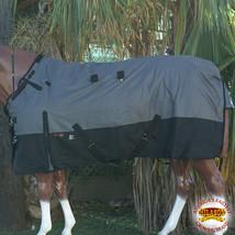 "72"" Hilason 1200D Poly Waterproof Turnout Winter Horse Blanket Grey Black U-2-72 - $84.99"