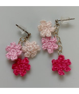Crochet Flower Earrings / Crochet earrings / Handmade earrings - $10.00