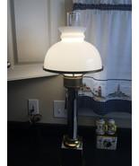 Mid century mushroom table lamp chrome brass white glass shade - $175.00