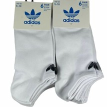 NEW 12 Pairs Adidas Womens No Show Socks White Shoe Size 5-10 Moisture W... - $36.88