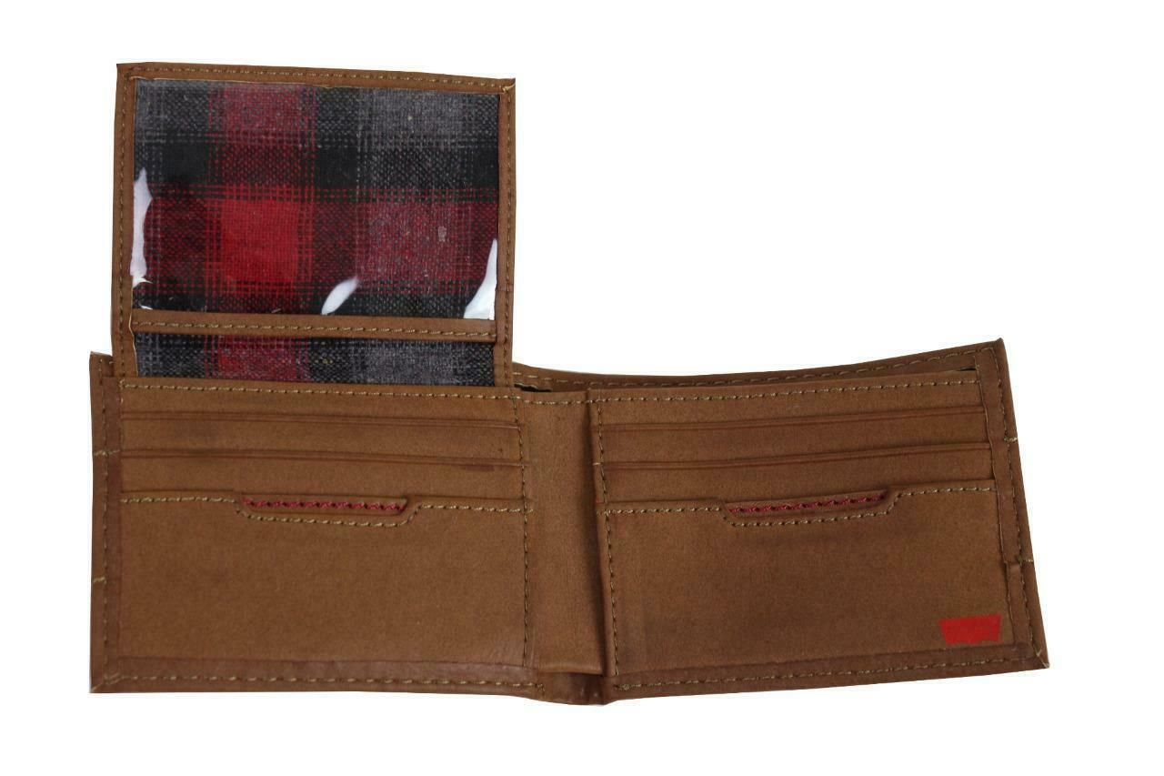NEW LEVI'S MEN'S PREMIUM COATED LEATHER BILLFOLD CREDIT CARD WALLET TAN 31LV2216 image 4