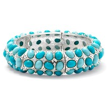 PalmBeach Jewelry Oval-Shape Simulated Turquoise Silvertone Stretch Brac... - $23.99