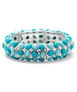 PalmBeach Jewelry Oval-Shape Simulated Turquoise Silvertone Stretch Brac... - $23.99