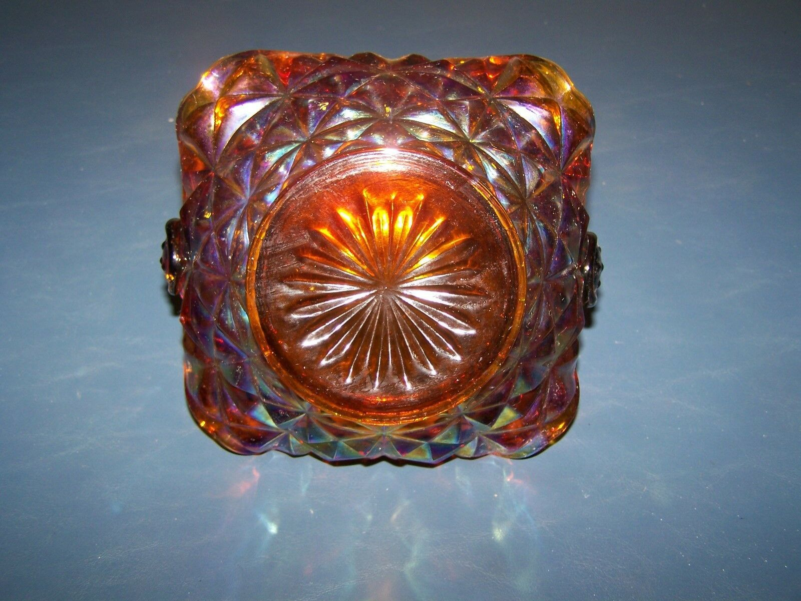 Very Nice Vintage Carnival Glass Handled Basket Diamond Pattern Unknown Maker