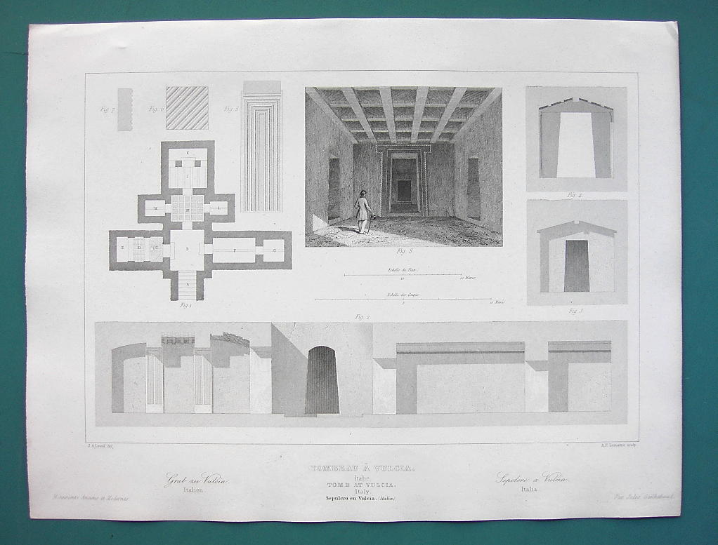 ARCHITECTURE PRINT 1850 - ITALY Etruscan Tombs at Vulci