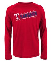 Mlb Boys Long Sleeve Performance Tee Texas Rangers Sz Large 14-16 Red - $16.78