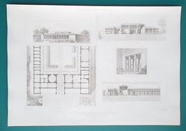 MACEDONIA Greece Palace at Vergina Palatitza -  SUPERB 1905 Espouy Print - $16.20