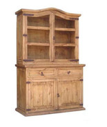 Rustic Small 2 PC China Cabinet Western Solid Real Wood Buffet Side Board - $840.51