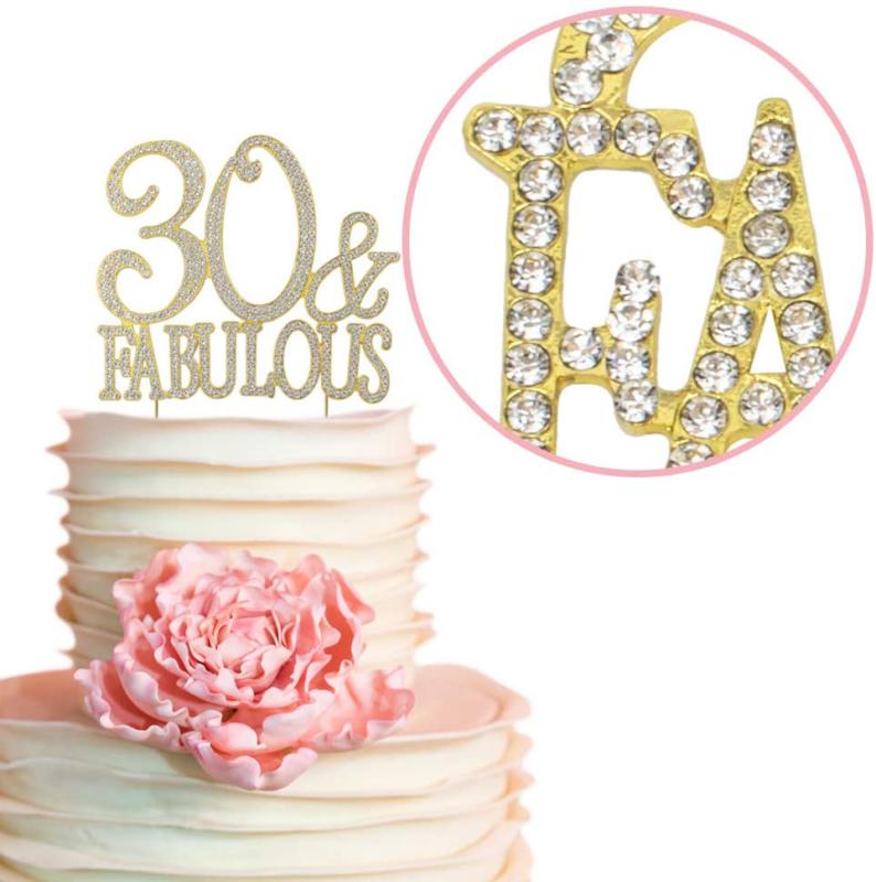 Premium Metal 30 and Fabulous Rhinestone Gem Cake Topper ...
