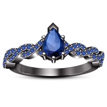 10k Black Gold Plated 925 Silver Pear Shape Blue Sapphire Women's Weddin... - $84.99