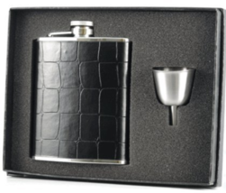 "Visol ""Gator"" Crocodile Leather Hip Flask Gift Set, 6-Ounce, Black, New,... - $31.45"