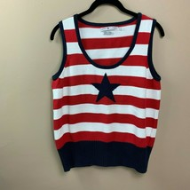Vintage Tommy Hilfiger sweater vest red white blue star  women's XL - $25.99