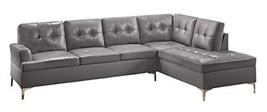 "Homelegance Barrington 109"" X 108"" Pu Leather Chaise Sofa, Gray - $1,762.19"