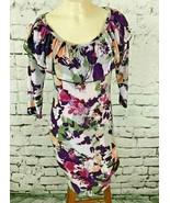 Beestango Women's Sz S Dress Purple Floral Ruffled 3/4 Sleeve A-Line Sheath - $14.84