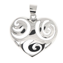 Sterling Silver Cut Out Scroll Design Heart Pendant - $14.01