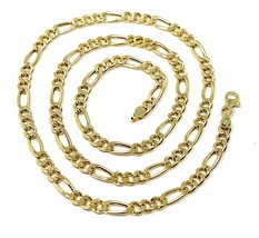 """18K GOLD FIGARO GOURMETTE ROUNDED CHAIN 4 MM WIDTH, 24"""", ALTERNATE 3+1 NECKLACE image 1"""