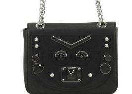 Guess NWT Cyber Rock Black Convertible Crossbody Handbag Silver Studded - $49.48