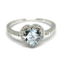 18K WHITE GOLD HEART LOVE RING, AQUAMARINE WITH DIAMONDS FRAME, MADE IN ITALY image 2