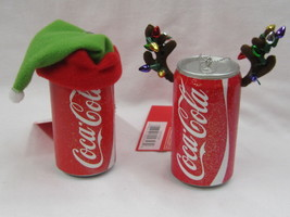 "Coca-Cola Ornaments Blow Mold Can (Elf/Antlers) ""Lot of 2""- 2013 - NEW - $14.36"