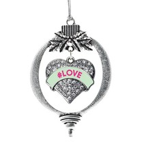 Inspired Silver #LOVE Green Candy Pave Heart Holiday Ornament - $14.69