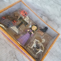 Witch Fairy Garden Kit, Miniature Halloween Village Set, Skeleton black cat owl image 2