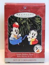 1998 Hallmark Disney Baby Mickey Minnie Make Believe Boat Christmas Orna... - $6.90