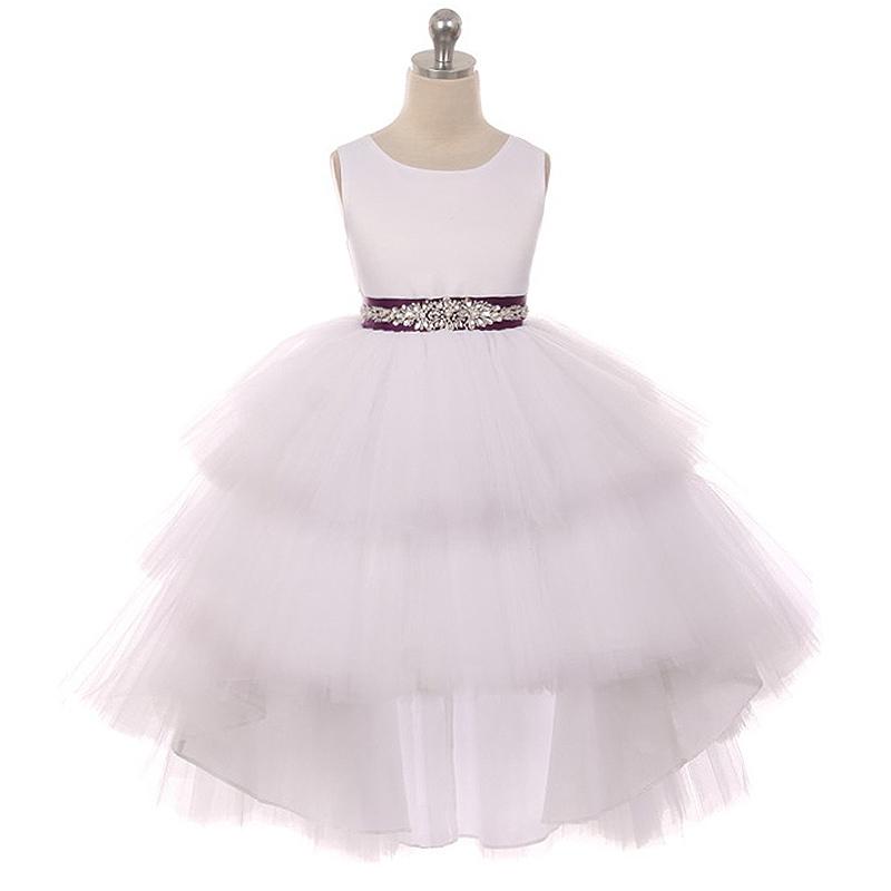 White Satin Bodice Hi-Low Layers Tulle Skirt Rhinestones Fuchsia Sash Girl Dress