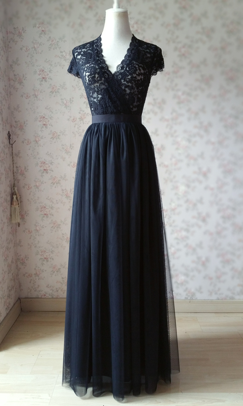 BLACK High Waisted Long Tulle Skirt Full Length Black Wedding Bridesmaid Skirts
