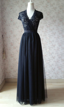 BLACK Long Maxi Tulle Skirt High Waisted Black Tulle Skirt Wedding Skirt image 7