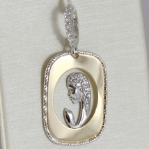 18K White And Yellow Gold Medal With Stylized Mother Virgin Mary Made In Italy - $167.20