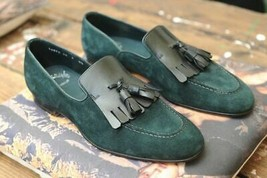 Tassel Men Rounded Apron Toe Green Tone Suede Leather Handcrafted Loafers Shoes - $139.99+