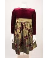 Swea Pea & Lilli Girls Dress Christmas SZ 6 Burgandy Green Dressy Holiday  - $19.79