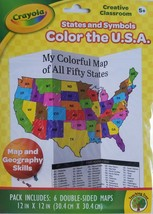 Crayola Color the USA States & Symbols Coloring Maps Age 5+, 6 Double-Sided - $2.96